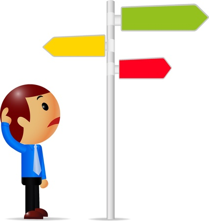 People is standing in front of a road sign thinking  Illustration
