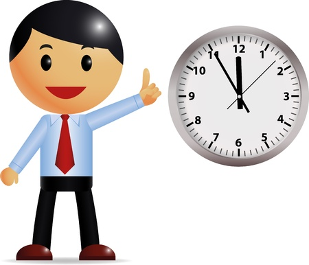 clock: Businessman with time management  Illustration