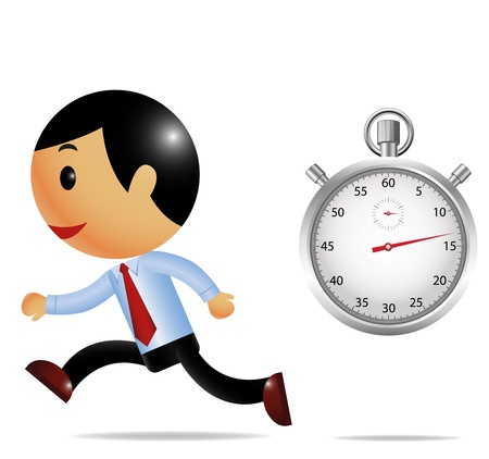 Running businessman and stopwatch  Ilustração