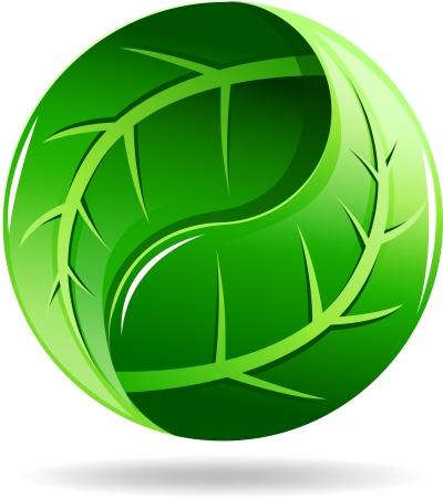 yin et yang: Yin Yang symbole dans une conception de feuille