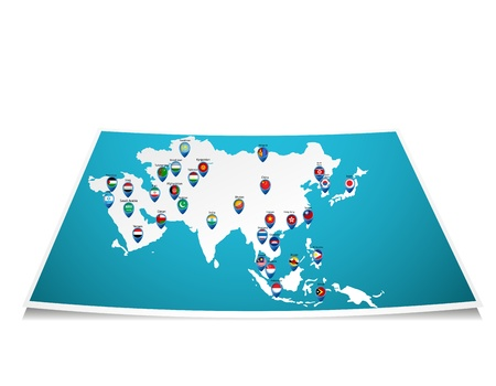 Asian map with flag pin  Illustration