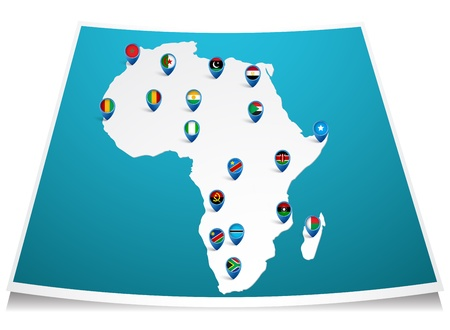 African map with flag pin  Vector