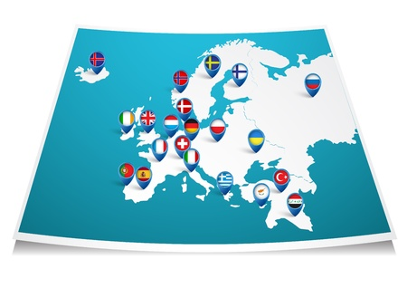 european countries: Europe map with flag pin  Illustration