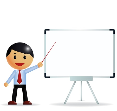 Businessman presenting on whiteboard  Illustration