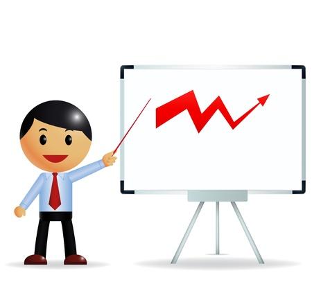 Businessman presenting on whiteboard  Illustration