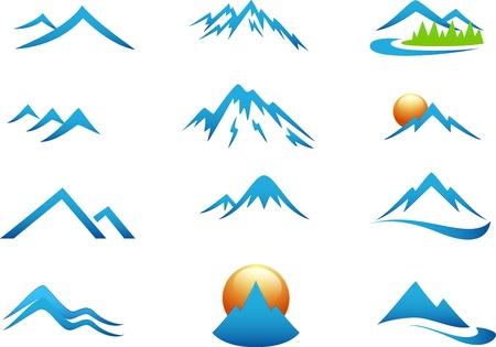 neve montagne: Montagna set di icone di raccolta Vettoriali