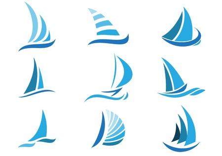 Sailboat symbol set  Ilustração