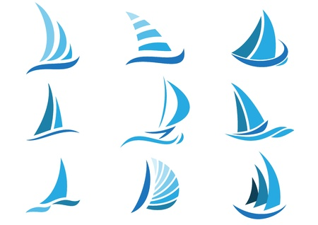 Sailboat symbol set  Illustration