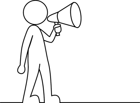 Persona semplice con megafono