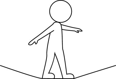 gehhilfe: Gesch�ftsmann zu Fu� auf einem Seil