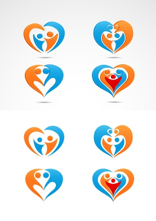 Family love icon collection set