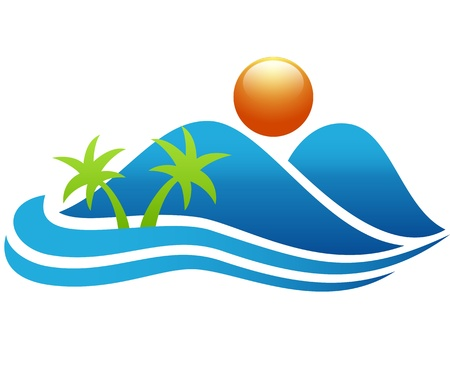 Tropical island icon