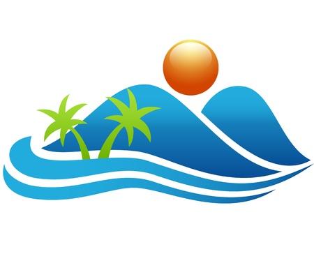 Tropical island icon  Vector