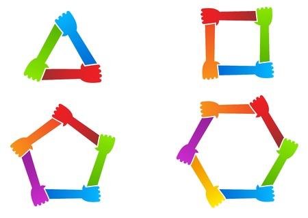 United hands  Conceptual symbol  Vector