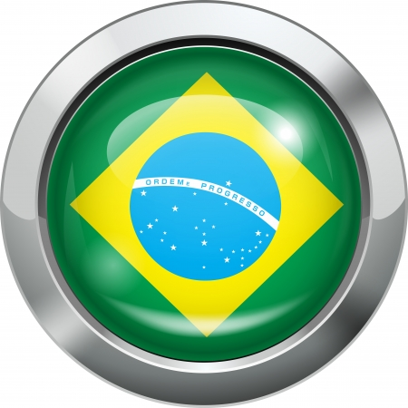 Brazilian flag metal button  Vector