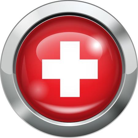 Switzerland flag metal button Stock Vector - 20693980