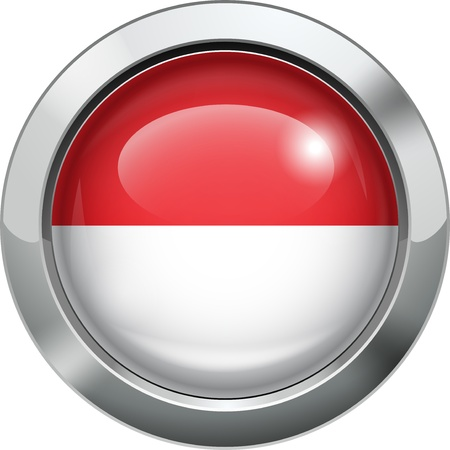 Indonesia and Monaco flag metal button  Vector