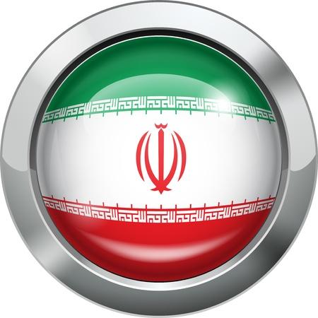 Iran flag metal button Stock Vector - 20693991