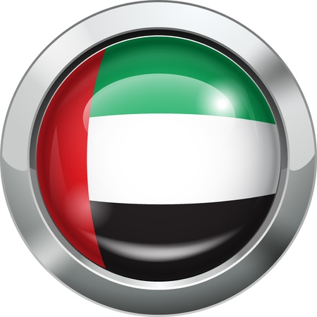 United Arab Emirates flag metal button  Stock Vector - 20693996