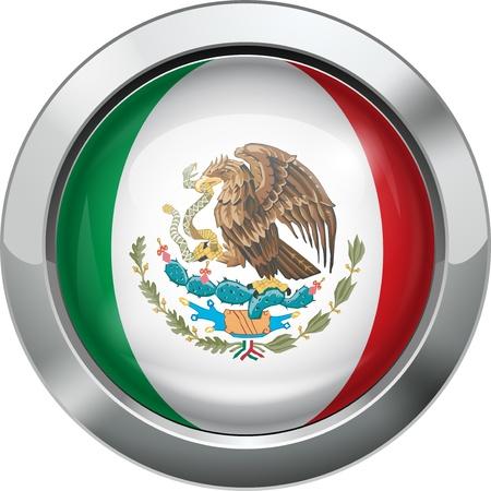 Кнопки: Мексика кнопку флаг металла Иллюстрация