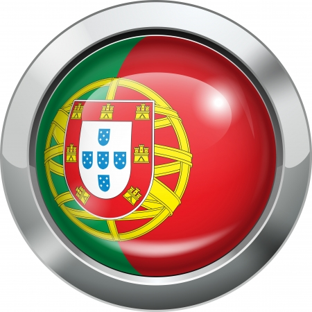 Portugal flag metal button  Illustration