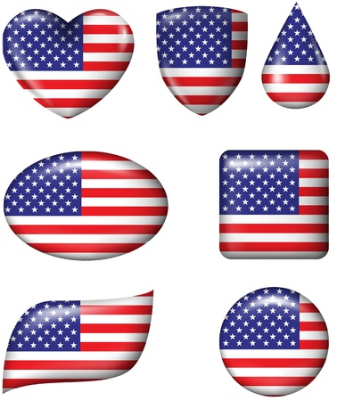 rectangle button: American Flag in various shape glossy button