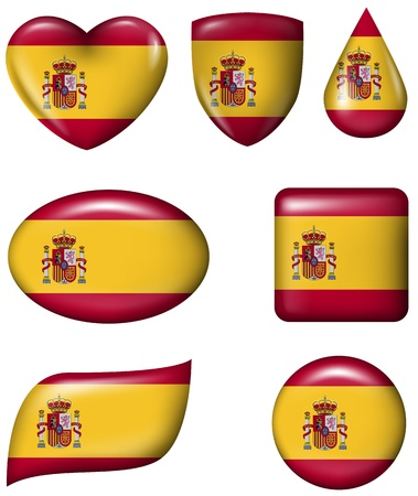 Spain flag in various shape glossy button