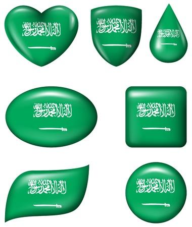 Saudi Arabia flag in various shape glossy button