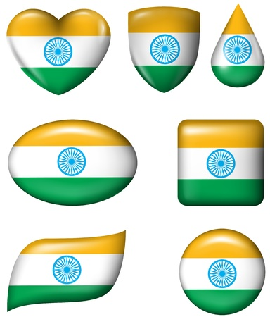 Indian flag in various shape glossy button