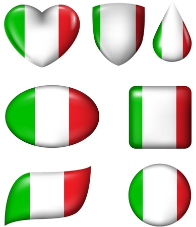 Italian flag in various shape glossy button