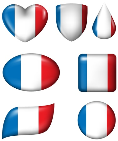 flag button: France flag in various shape glossy button Illustration
