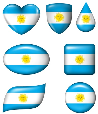Argentina flag in various shape glossy button Illustration