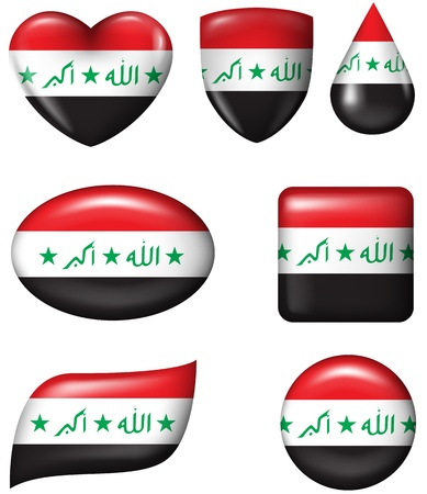 iraq: Iraq flag in various shape glossy button