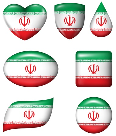 Iran flag in various shape glossy button