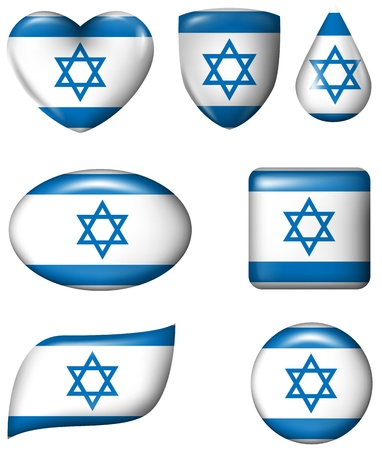 flag button: Israel flag in various shape glossy button