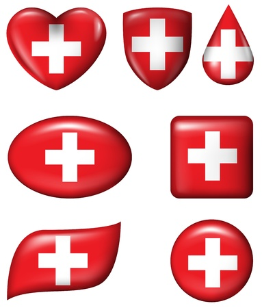 Switzerland flag in various shape glossy button