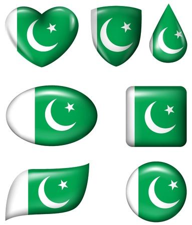 pakistan flag: Pakistan Flag in various shape glossy button Illustration