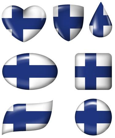 finnish: Finnish Flag in various shape glossy button Illustration