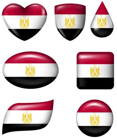bandera de egipto: Bandera de Egipto en diversos botón brillante forma Vectores