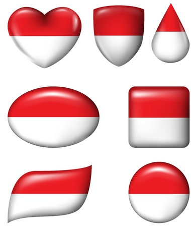 Indonesia and Monaco Flag in various shape glossy button Vector