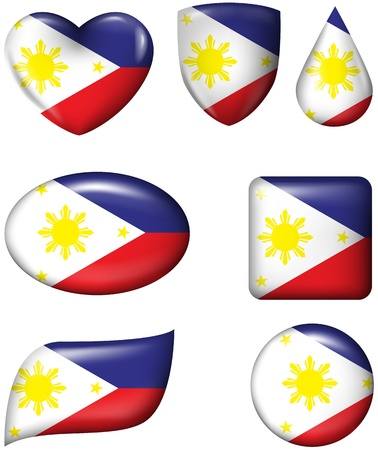 philippines: Philippines flag in various shape glossy button