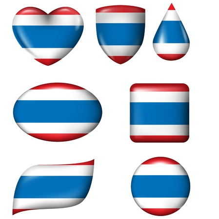 Thailand Flag in various shape glossy button Illustration