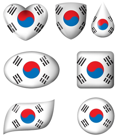 South Korean Flag in various shape glossy button Vector