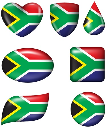 south african flag: South African Flag in various shape glossy button Illustration