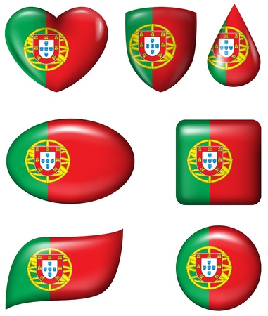Portugal Flag in various shape glossy button