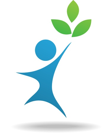 People and leaf icon, nature symbol
