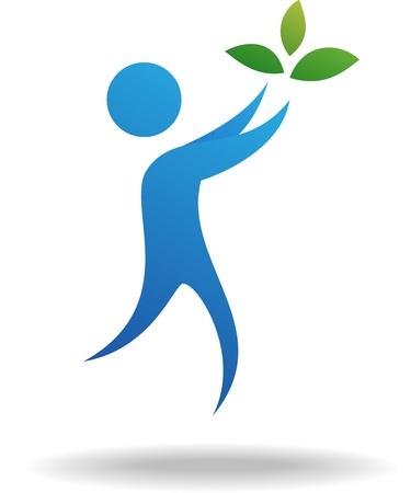 peace on earth: People and leaf icon, nature symbol