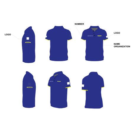 T シャツのデザインは、前面、背面と側面図。