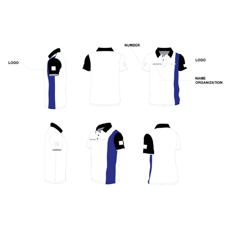 A Polo SHIRT DESIGN 1 mix color of White, black and blue. Illustration