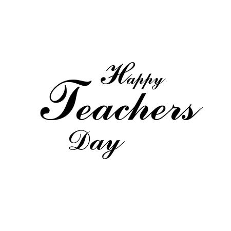Happy teachers day typography text vector. Ilustração